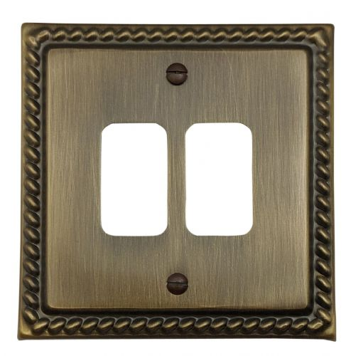 G&H MAB92 Monarch Roped Antique Bronze 2 Gang MK Compatible Grid Plate